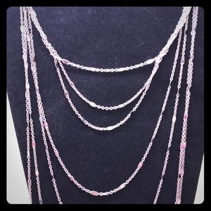 NWT Forever 21 Layered Long Silver Chain Necklace